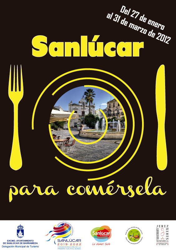 "Cartel de la ruta enogastronómica ""Sanlúcar, para comérsela"""